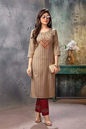Beige Embroidered Kurti with Pants