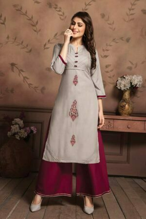 Grey Embroidered Kurti with Palazzo
