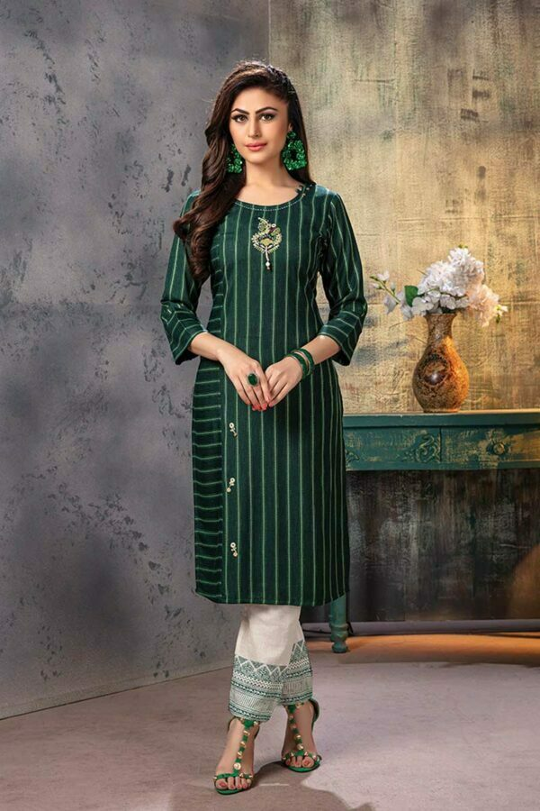 Bottle Green Embroidered Kurti with Pants - ethnic wear for women