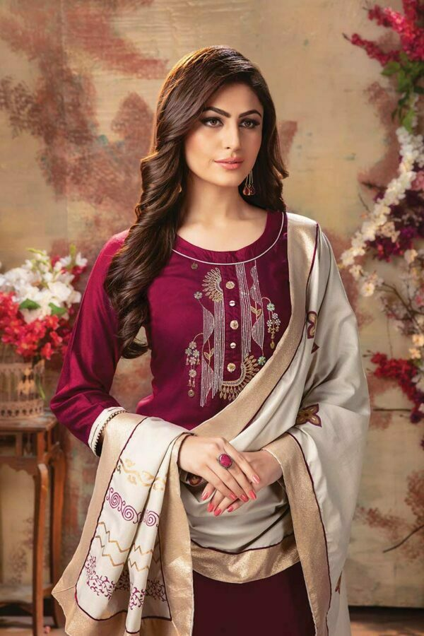 Maroon 3 piece embroidered Women kurti with palazzo and dupatta