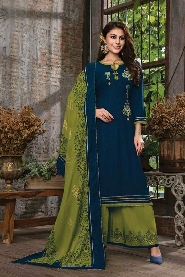 Navy Blue 3 piece embroidered kurti with palazzo and dupatta