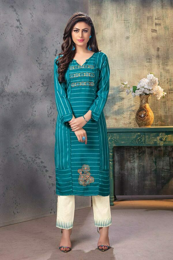Blue Embroidered rayon Kurti with Pants