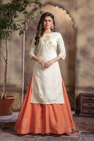White Lurex Chanderi kurti with Long Skirt for Women