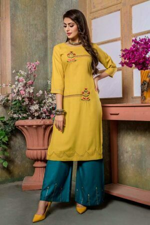 Yellow Embroidered Kurti with Palazzo