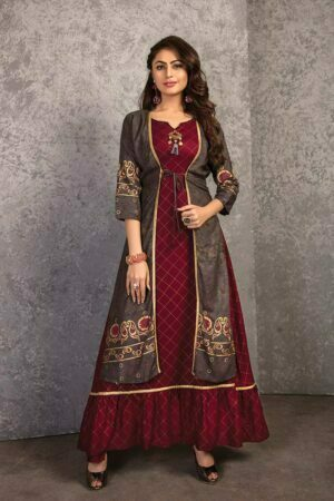 Maroon Checked Foil Printed Rayon Kurti With Cotton Jacket