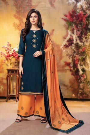 Teal Green 3 piece embroidered kurti with palazzo and dupatta