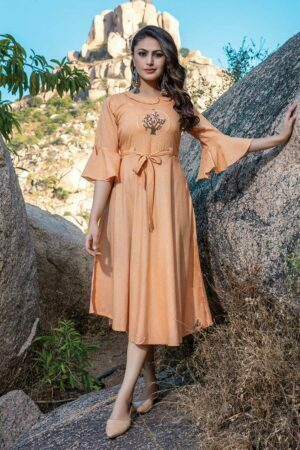 Orange Embroidered fancy Kurti Dress with Belt