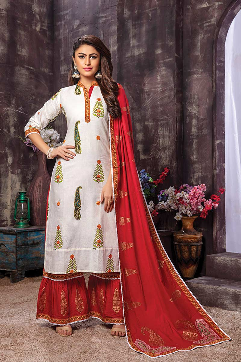White 3 piece Rayon Embroidered straight Kurti with Printed Palazzo and Dupatta
