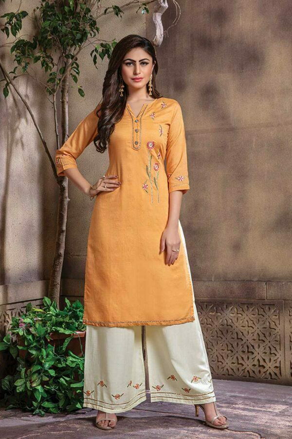 Light Orange Lurex Chanderi kurti with Palazzo set