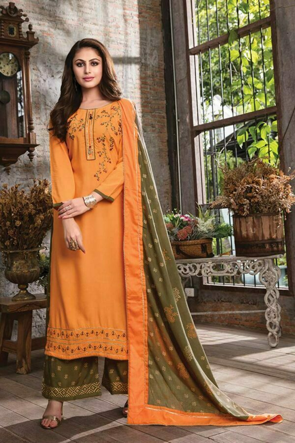 Carrot 3 piece embroidered readymade dress