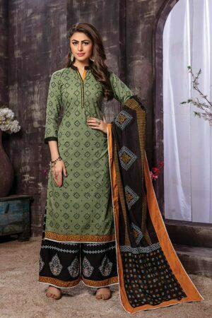 Dark Green 3 piece Rayon Embroidered Kurti with Printed Dupatta
