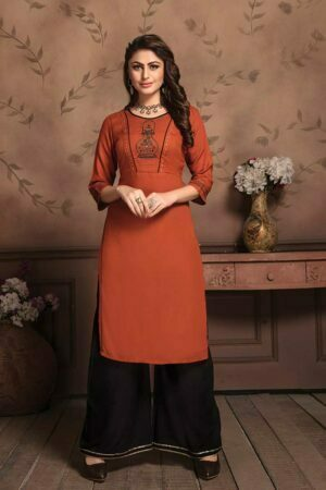 Rust Orange Embroidered Kurti with Palazzo set online