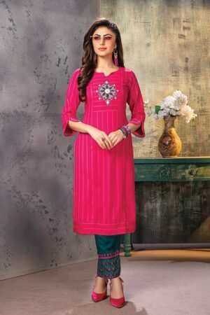 Pink Embroidered Stylish Kurti with Pants