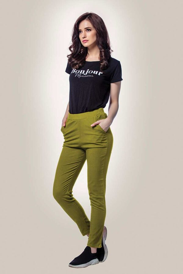 green cotton lycra women straight pants