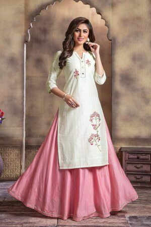 White Lurex Chanderi kurti with long Skirt