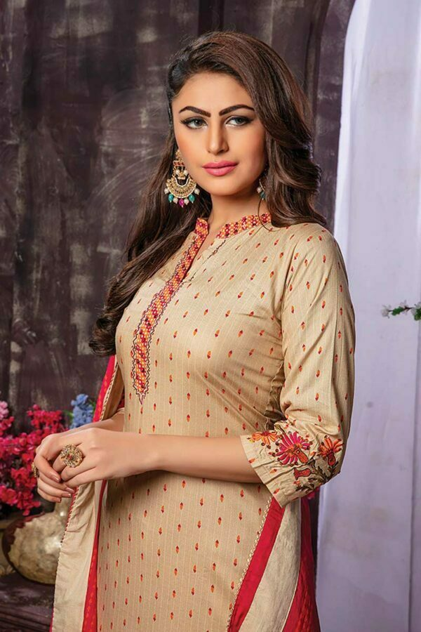 cream rayon embroidered kurti with printed palazzo and dupatta
