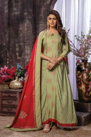 Olive Green 3 pieceprinted Kurti with Printed Palazzo and Dupatta