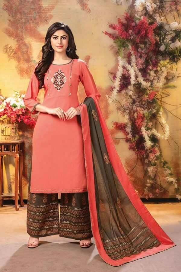 Peach 3 piece embroidered best designer kurti with palazzo and dupatta