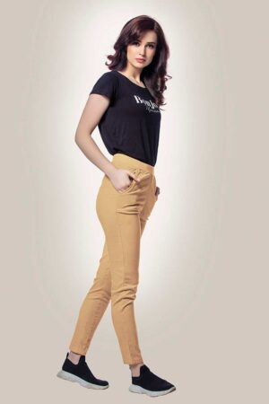 cream cotton lycra pants for women