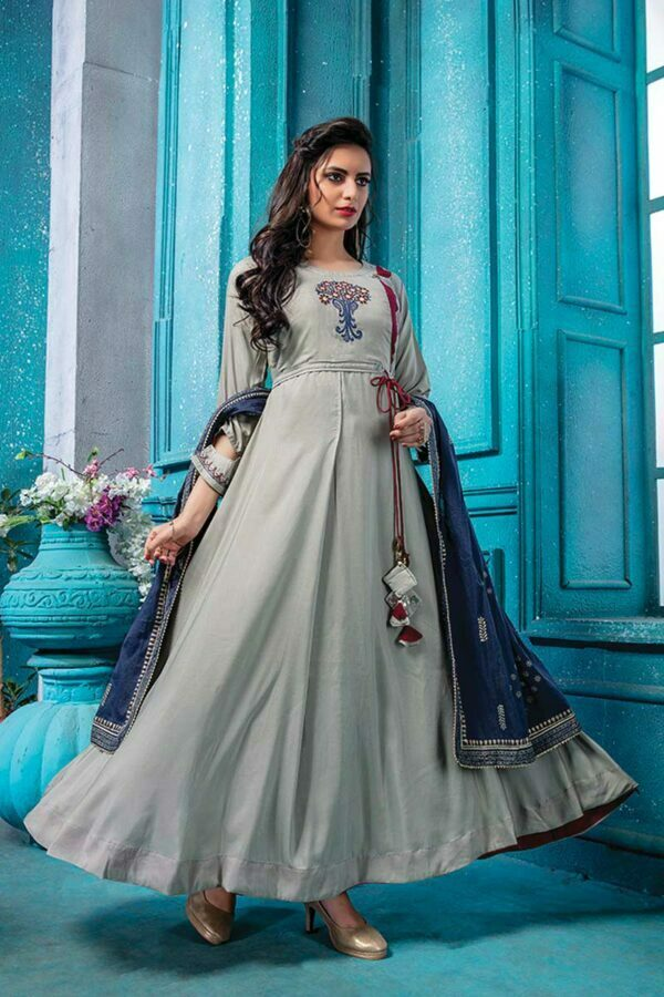 Grey Cotton Doria Long Frock Suit with Printed Dupatta