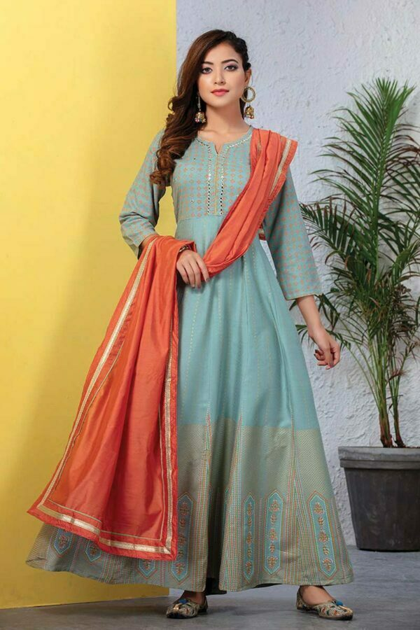 Pastel Blue Rayo Long Mirror Work Kurti with Chanderi Silk Dupatta