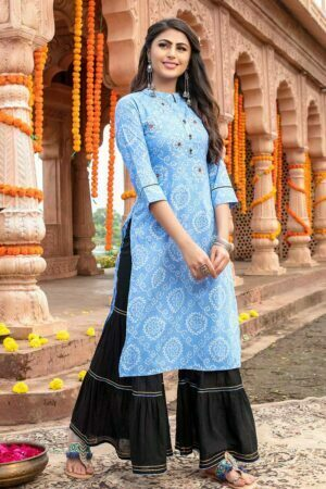 Sky Blue women kurti with sharara
