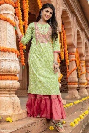 Pista Green embroidered kurti with sharara