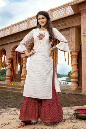 Off white kurtis for women with sharara