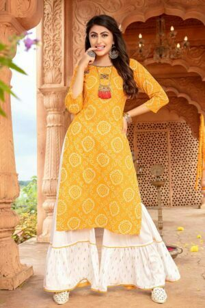 yellow latest designer kurti with sharara