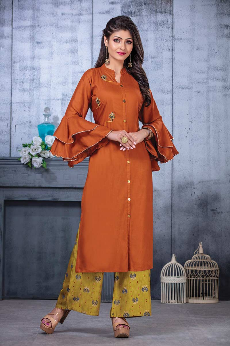 Orange Embroidered bell sleeves Kurti with Palazzo