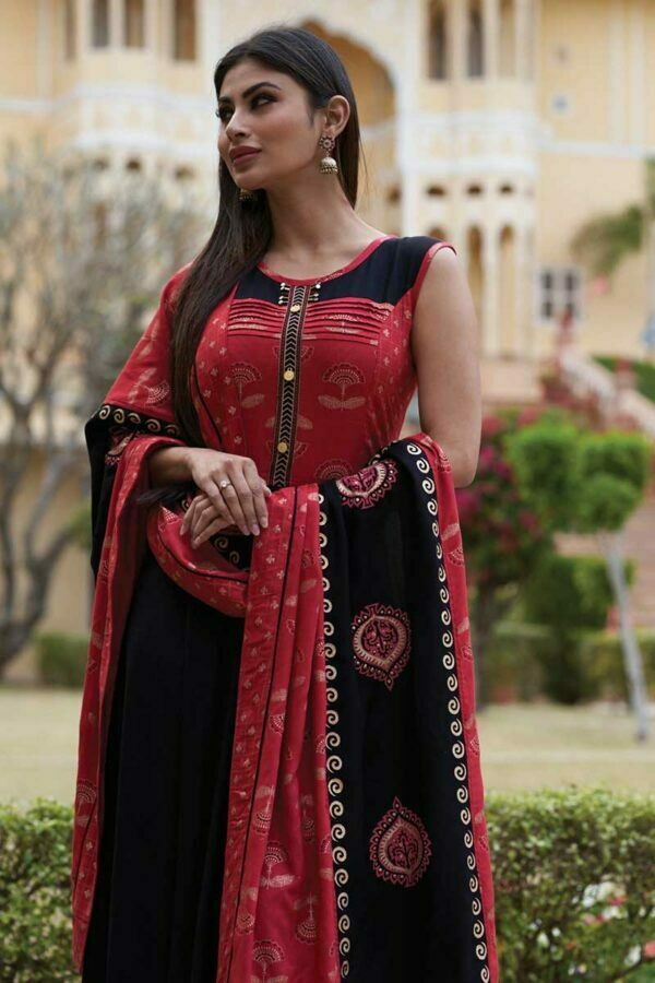 red and black kurtis for women with dupatta