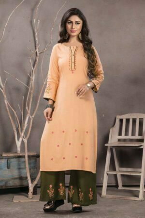 Peach Embroidered Kurti with Palazzo