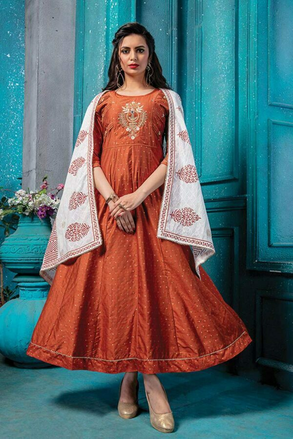 Orange Cotton Doria Long Anarkali Kurti with Printed Dupatta