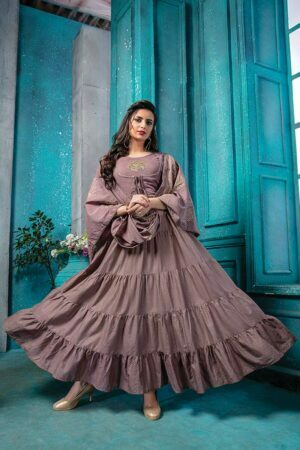Purple Cotton Doria anarkali suit for weddings with Printed Dupatta