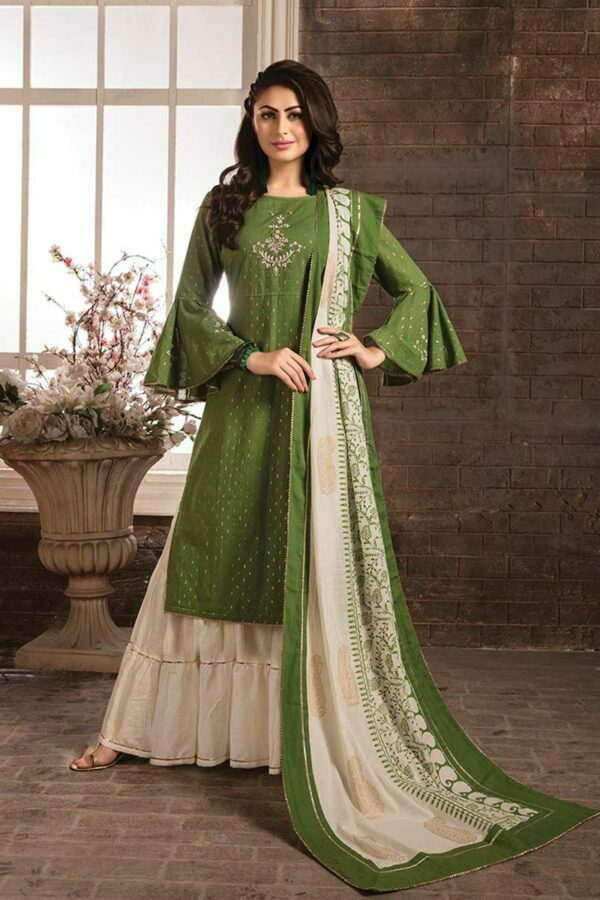 Olive Green Cotton Embroidered bell sleeves Kurti with Sarara and Printed Dupatta