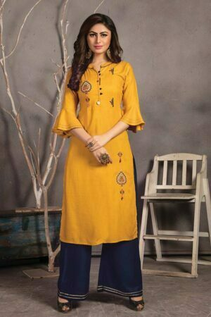 Mustard yellow Rayon Embroider