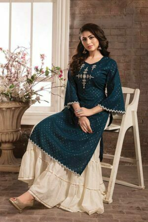 Teal Blue Cotton Embroidered Kurti with Sharara and Printed white Dupatta