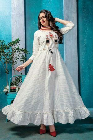 Cotton Doria Long White Kurti with Printed Dupatta