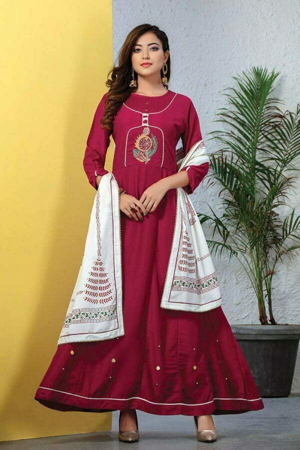 Silk Embroidered Long Pink Kurti with dupatta
