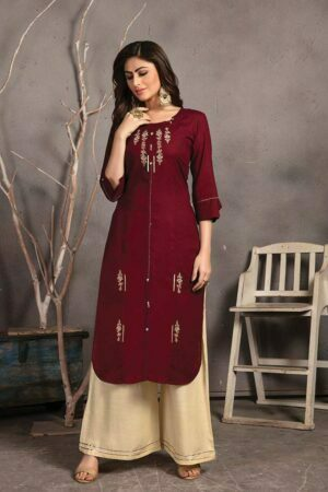 Maroon Rayon Embroidered Kurti with Palazzo casual wear