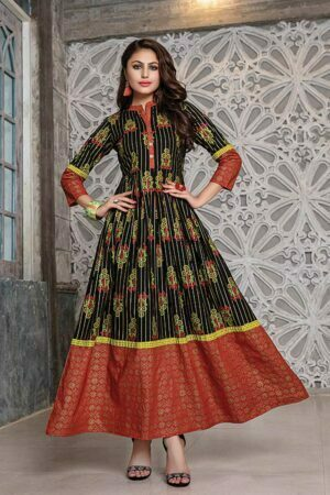 Black & Orange Cotton Printed Floor Length Embroidered Kurti