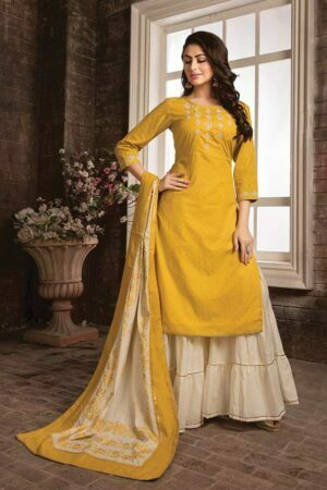 Cotton Yellow handwork Kurti with Sarara and Printed Dupatta