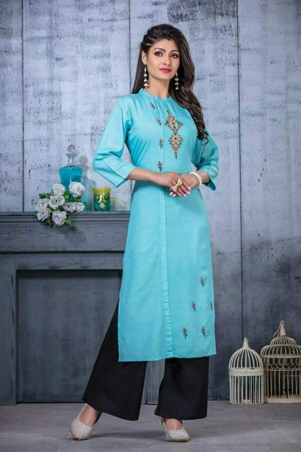 Sky Blue Embroidered Women kurti online with Palazzo