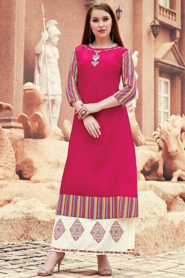 Dark Pink & White Long Layered Embroidered Kurti