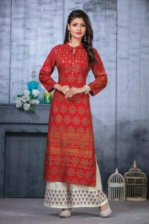Red Rayon Embroidered collar neck kurti design with Palazzo