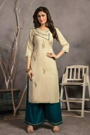 Light Beige Embroidered rayon Kurti with Palazzo
