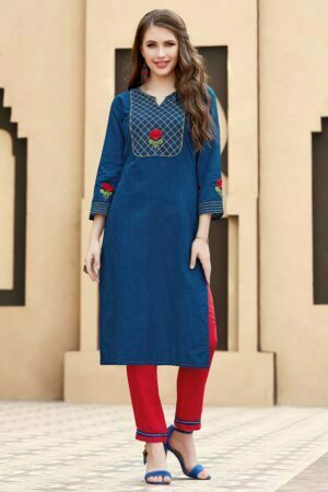 dark blue kurti styles with pant