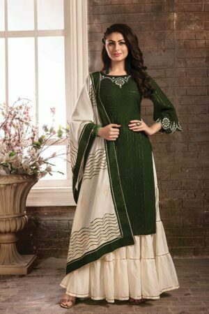 Dark Green Cotton Embroidered Kurti with Sharara suits and Printed Dupatta