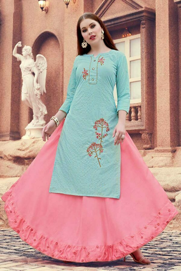 blue embroidered kurti with skirt