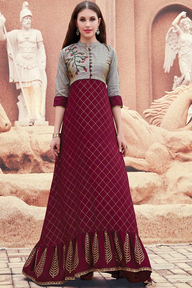 Maroon Long Gown with Embroidered Jacket